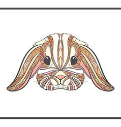 Rabbit coloring outlines in boho style ethnic hare vector