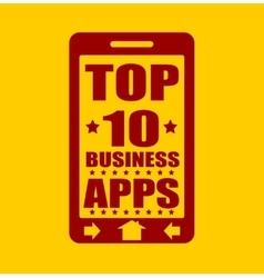 Top ten business apps text on phone screen vector