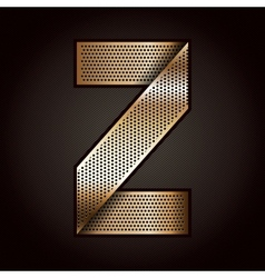 Letter metal gold ribbon - z vector