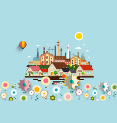 Abstract industrial city with flowers vector
