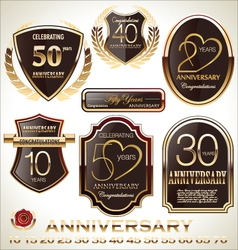 Anniversary brown label set vector image vector image