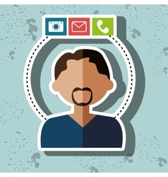 avatar camera email telephone vector image