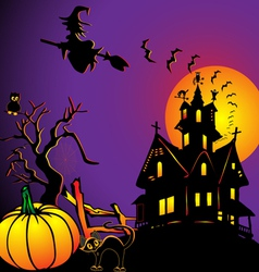Background with house by pumpkin and eagle owl vector