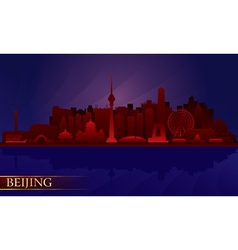 Beijing city night skyline vector