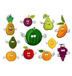 Cartoon garden and tropical fruits vector