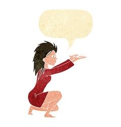 Cartoon womn casting spel with speech bubble vector