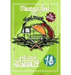 Color vintage food truck poster vector
