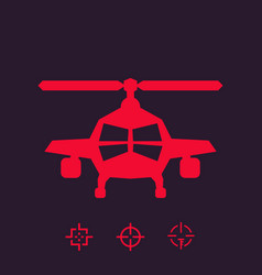 Combat helicopter sign vector