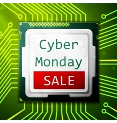 Cyber monday sale poster electronic circuit board vector