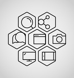 Different lineart icons set vector image vector image