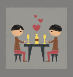 Flat shading style icon romantic dinner gay vector