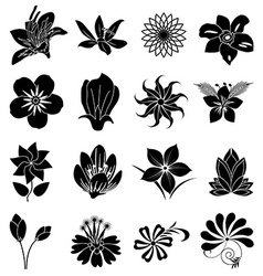 Flower silhouette icons set vector
