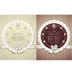 Frames with pearls bow in retro style vector image