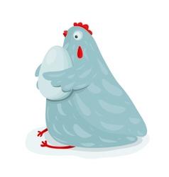 Funny mom hen sitting hugging egg vector