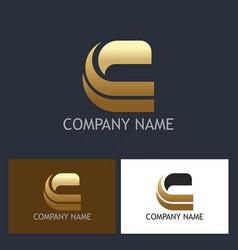 gold letter c shape company logo vector image