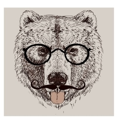 hipster portrait of bear with glasses vector image