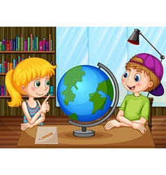 Kids and globe vector image vector image