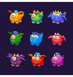 Little alien monsters with and without wings set vector