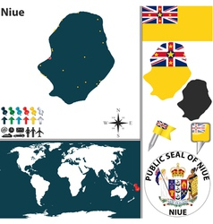 Niue world map vector