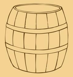 Old wooden barrel vector