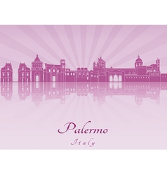 Palermo skyline in purple radiant orchid vector