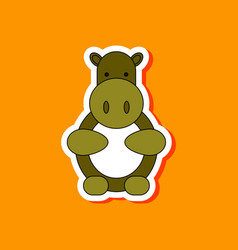 Paper sticker on stylish background kids toy hippo vector