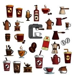 Retro sketched coffee cups and pots symbols vector