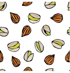 seamless with shelled pistachio and almond nuts vector image