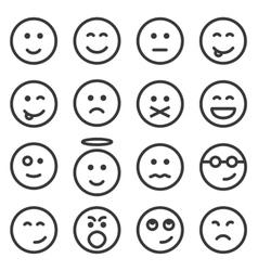 Set of outline emoticons emoji vector