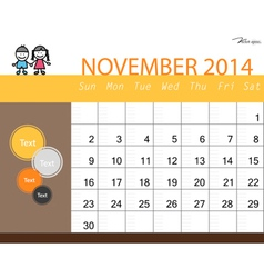 Simple 2014 calendar November vector image vector image