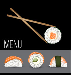 sushi set realistic icon vector image vector image