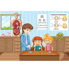 Teacher and students learning in science classroom vector image vector image