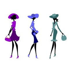 Three women in hats vector image vector image