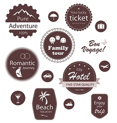 Travel and vacation emblems set vector