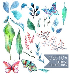 Watercolor flowers collection for different design vector image vector image