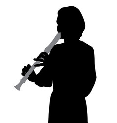 woman playing recorder flute vector image vector image