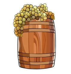 wooden barrel with a bunches of grapes vector image vector image