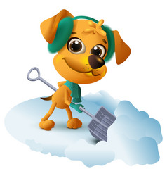 yellow dog cleans snow with shovel vector image vector image