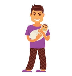 Young father man holding newborn baby child vector