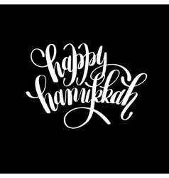 Happy hanukkah handwritten lettering inscription vector