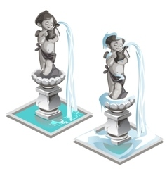 Statue fountain of a boy with wings and pitcher vector