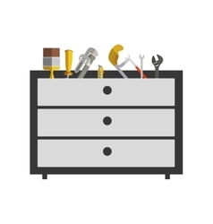 silhouette color with rack tools box vector image