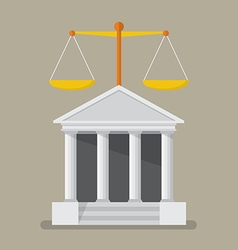 Court building with scales of justice vector image