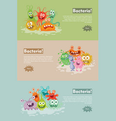Bacteria flat cartoon web banner vector