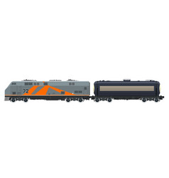 Orange locomotive with tank car isolated vector
