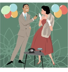 1950s party scene vector image