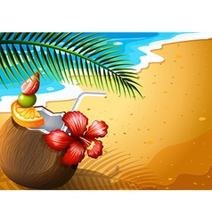 A refreshing coconut juice drink at the beach vector