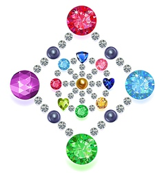 Rhombus-circle composition colored gems set vector