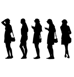girl with hat and phone vector image