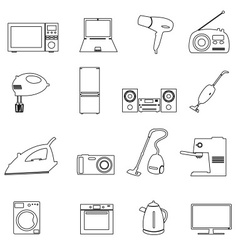 Home electrical appliances outline icons set eps10 vector